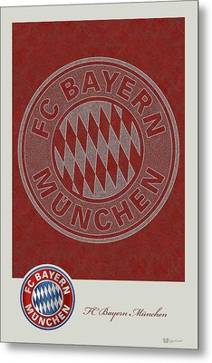 Fc Bayern Munich Logo And 3d Badge Metal Print by Serge Averbukh