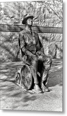 Fdr Memorial Sculpture In Wheelchair Metal Print by Olivier Le Queinec