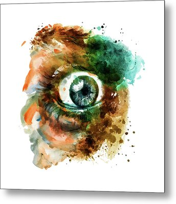 Fear Eye Watercolor Metal Print