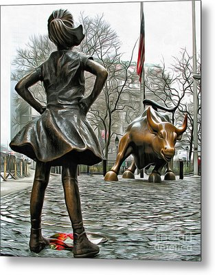 Fearless Girl And Wall Street Bull Statues 5 Metal Print