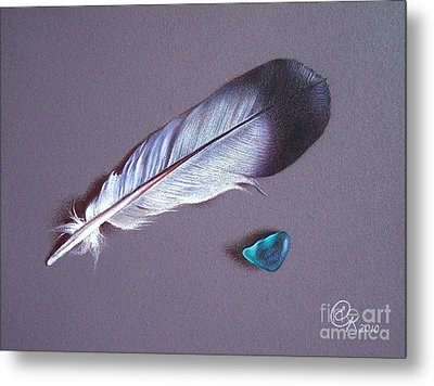 Feather And Sea Glass 1 Metal Print by Elena Kolotusha