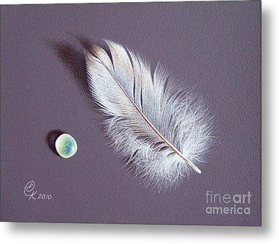 Feather And Sea Glass 2 Metal Print by Elena Kolotusha
