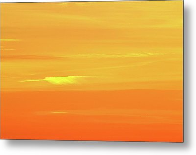Feather Cloud In An Orange Sky  Metal Print by Lyle Crump