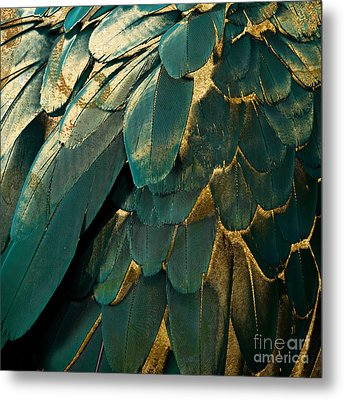 Feather Glitter Teal And Gold Metal Print by Mindy Sommers