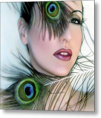 Feathered Beauty - Self Portrait Metal Print by Jaeda DeWalt