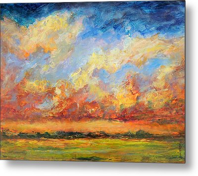 Metal Print featuring the painting Feathered Sky by Mary Schiros