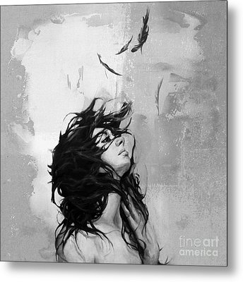 Feathers From Hair Metal Print by Gull G