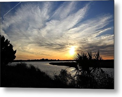 Feathery Clouds At Sunset Metal Print by Rosanne Jordan