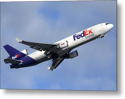 Fedex Mcdonnell-douglas Md-11f N605fe Phoenix Sky Harbor December 23 2010 Metal Print by Brian Lockett