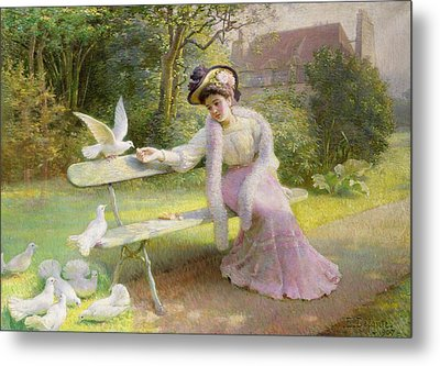 Feeding The Doves  Metal Print by Edmond Alphonse Defonte