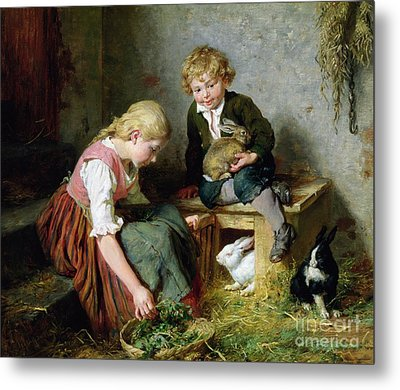 Feeding The Rabbits Metal Print by Felix Schlesinger
