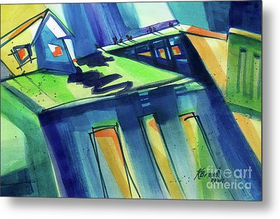 Feedmill In Blue And Green Metal Print by Kathy Braud