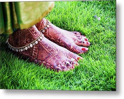 Feet With Mehndi On Grass Metal Print by Athul Krishnan (www.athul.in)