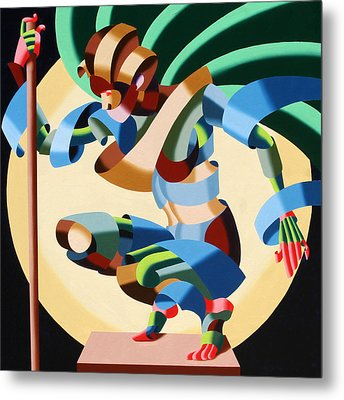 Felicia 1424 - Abstract Futurism Oil Painting Metal Print by Mark Webster
