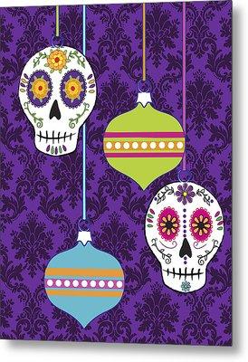 Feliz Navidad Holiday Sugar Skulls Metal Print by Tammy Wetzel