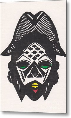 Female Ancestral Mask Of The Mpongue Of The Congo Metal Print by Mia Alexander