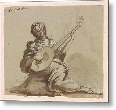 Female Figure With A Lute Metal Print by Celestial Images