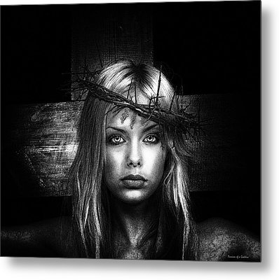 Female Jesus Portrait B And W Metal Print by Ramon Martinez