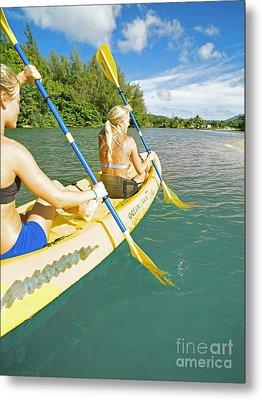 Female Kayakers Metal Print by Kicka Witte - Printscapes