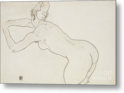 Female Nude Kneeling And Bending Forward To The Left Metal Print by Egon Schiele