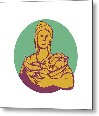 Female Organic Farmer Basket Harvest Circle Woodcut Metal Print