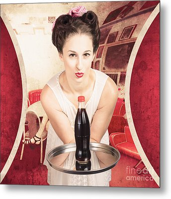 Female Postcard Pinup Girl In 60s Restaurant Metal Print