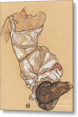Female Torso In Lingerie And Black Stockings Metal Print by Egon Schiele