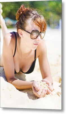 Female Tourist Resting In Tropical Island Paradise Metal Print by Jorgo Photography - Wall Art Gallery