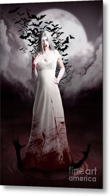 Female Vampire During Twilight Full Moon Horror Metal Print by Jorgo Photography - Wall Art Gallery