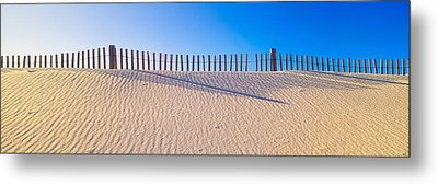 Fence Along Beach At Santa Rosa Island Metal Print by Panoramic Images