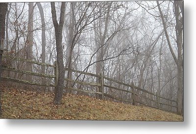 Fence And Fog Metal Print by Don Koester