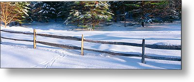 Fence And Snow In Winter, Vermont Metal Print by Panoramic Images