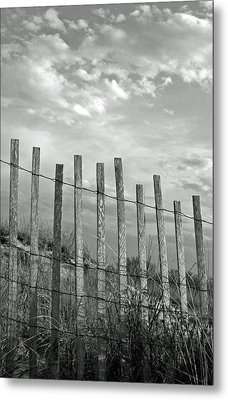 Fence At Jones Beach State Park. New York Metal Print