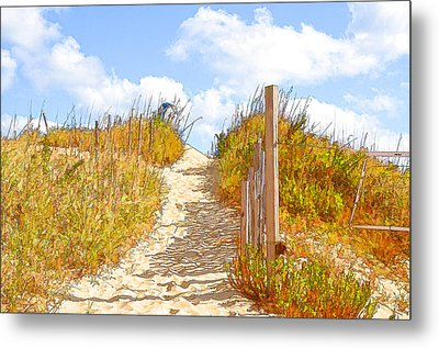 Fence At The Shore 3 Metal Print