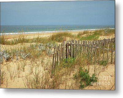 Fence In The Dunes Metal Print
