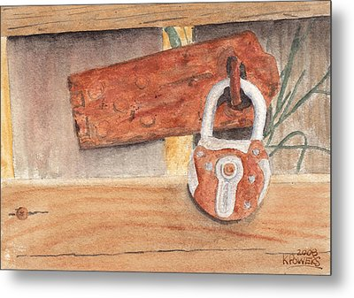 Fence Lock Metal Print by Ken Powers
