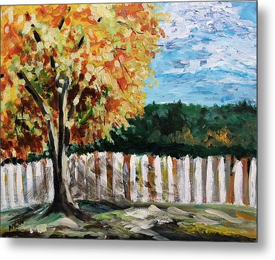 Metal Print featuring the painting Fence Under The Maple by Mary Carol Williams