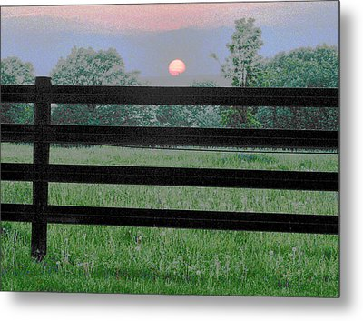 Fenced Sunset 2 Metal Print by Brian Foxx