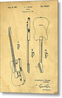 Fender Guitar Patent Metal Print