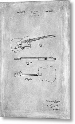 Fender Guitar Patent From 1951 Metal Print by Mark Rogan