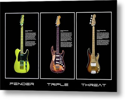 Metal Print featuring the photograph Fender Triple Threat by Peter Chilelli