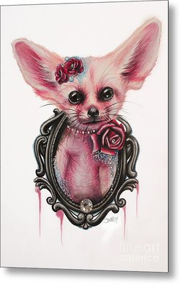 Metal Print featuring the drawing Fennec Fox by Sheena Pike