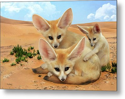 Metal Print featuring the digital art Fennec Foxes by Thanh Thuy Nguyen