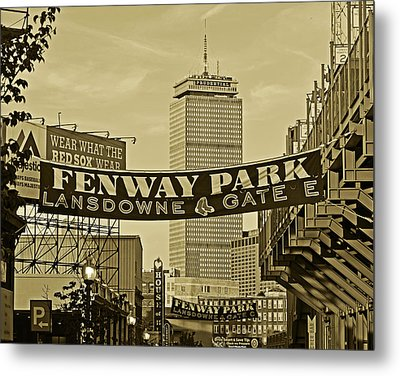 Fenway Park Banners Boston Ma Sepia Metal Print by Toby McGuire
