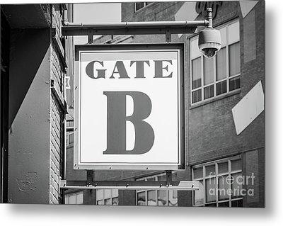 Fenway Park Gate B Sign Black And White Photo Metal Print