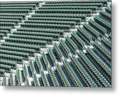 Fenway Park Green Bleachers Metal Print by Susan Candelario