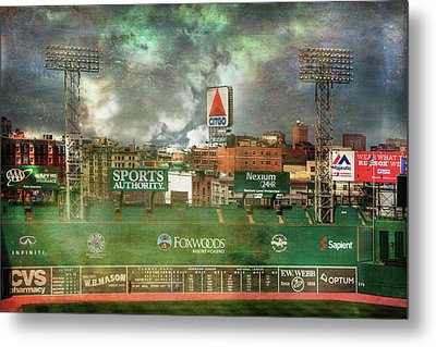 Fenway Park Green Monster And Citgo Sign Metal Print