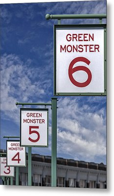 Fenway Park Green Monster Section Signs Metal Print by Susan Candelario
