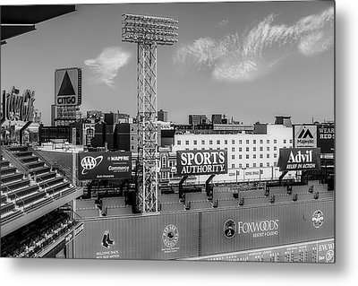 Fenway Park Green Monster Wall Bw Metal Print by Susan Candelario
