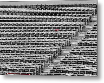 Fenway Park Red Chair Number 21 Bw Metal Print by Susan Candelario